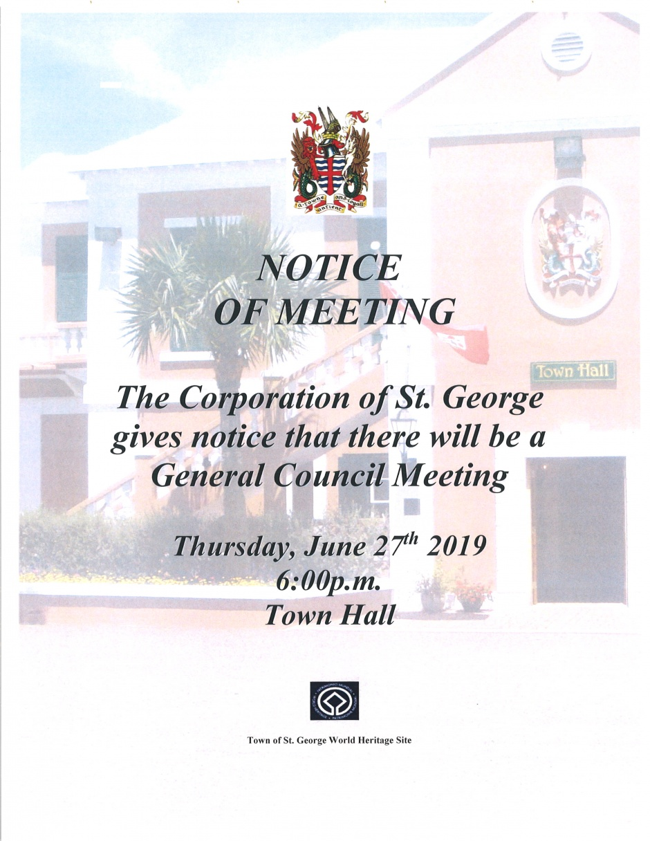 CORPORATION OF ST. GEORGE GENARAL MEETING - 1st NOVEMBER