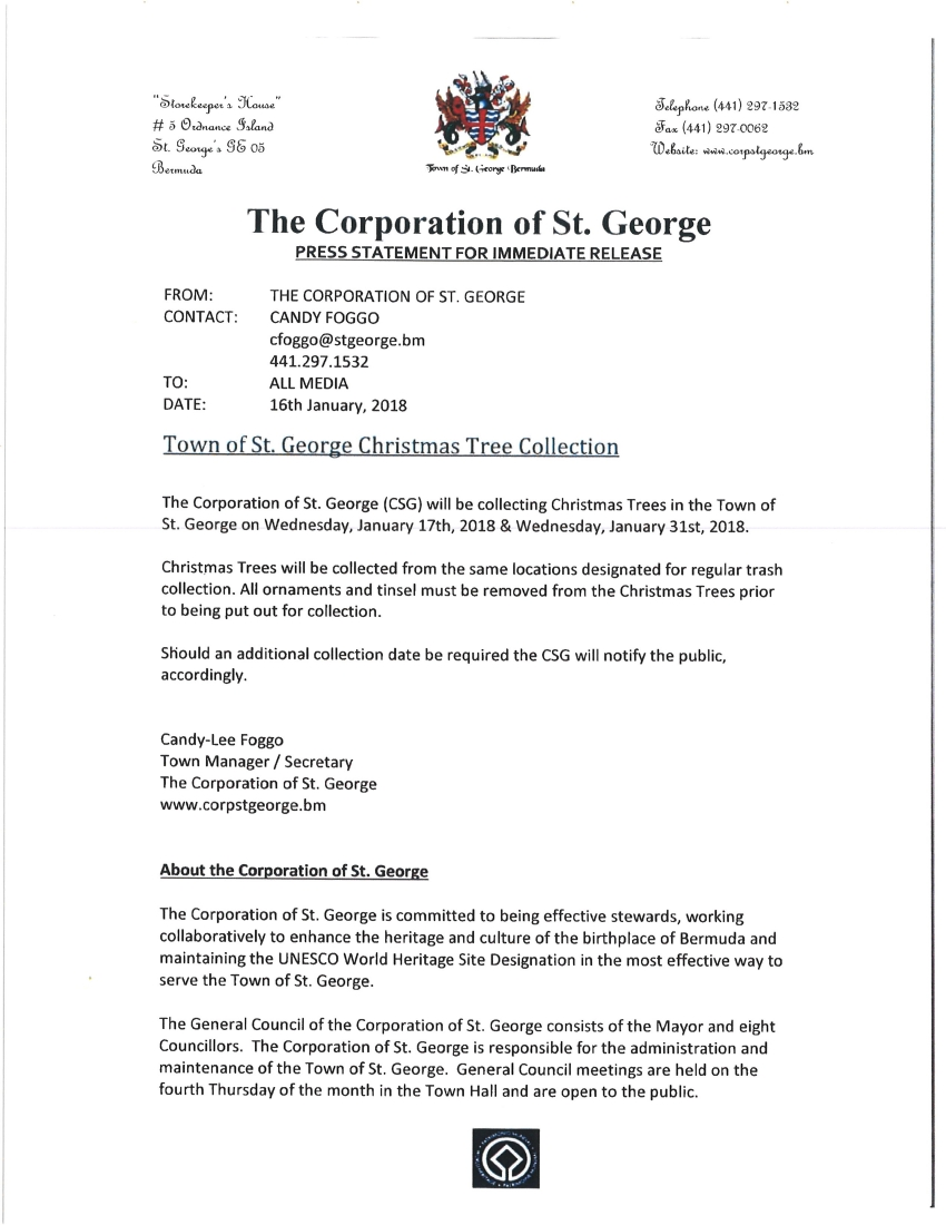 TOWN OF ST. GEORGE CHRISTMAS TREE COLLECTION